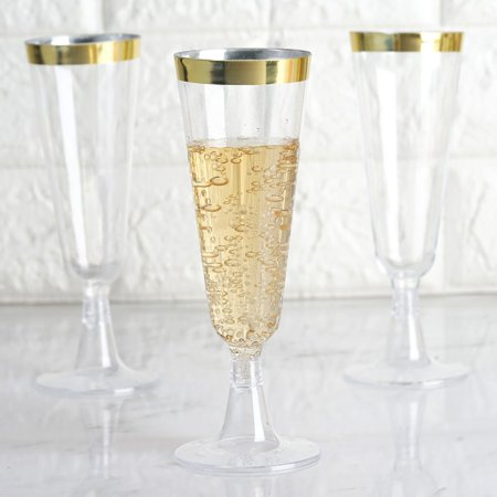 Clear Green Recycled Glass - Efavormart 60 Pack 5oz Gold Rimmed Clear Champagne Flutes Cocktail Disposable Plastic Glasses For Wedding Banquet Party Events