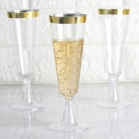 Efavormart 60 Pack 5oz Gold Rimmed Clear Champagne Flutes Cocktail Disposable Plastic Glasses For Wedding Banquet Party... by Plastic Glasses