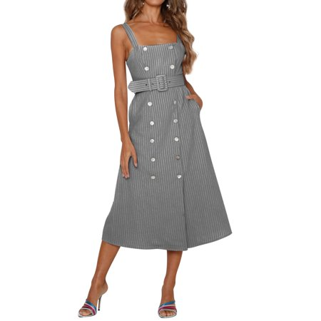 Nlife Women's Buttons Decor Waist Belt Stripe Midi Dress