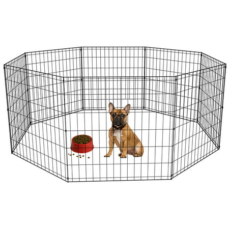 - 24-Black Tall Dog Playpen Crate Fence Pet Kennel Play Pen Exercise Cage -8 Panel