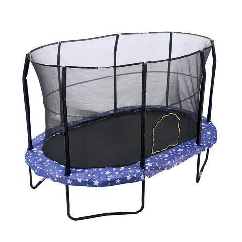 Jumpking Oval 9 x 14 Trampoline, with Safety Enclosure, American Stars Graphic Pad (Box 1 of 2)