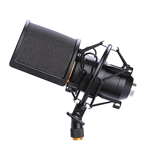 Microphone Shock Mount with Pop Filter, Mic Anti-Vibration New FREE SHIPPING by