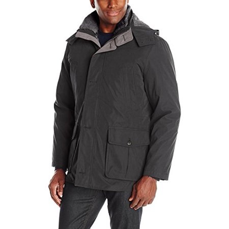 London Fog Men's Bonded Microfiber Parka With Detachable Sherpa Lined Hood, Black, XL ()
