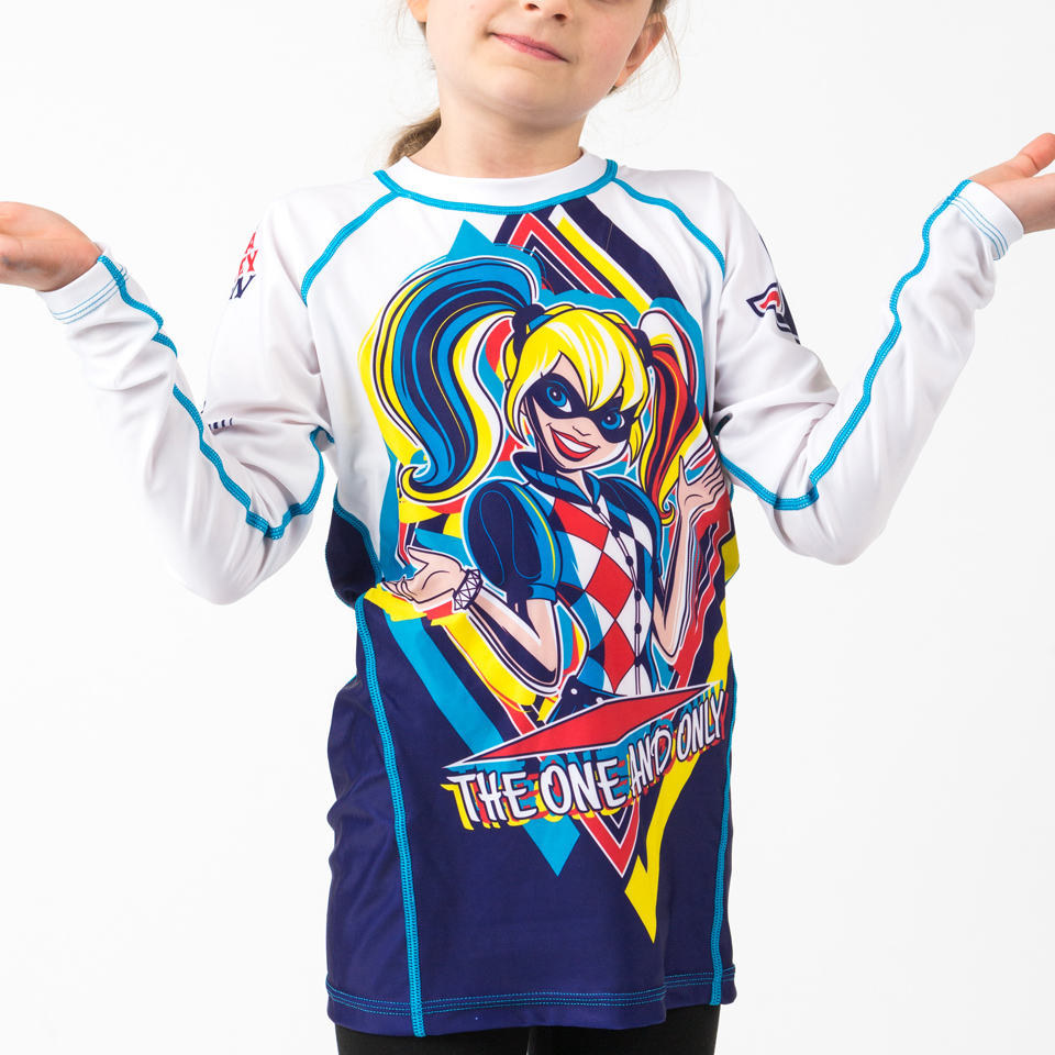 Fusion Fight Gear Harley Quinn Kids Rash Guard Compression Shirt Long Sleeve S
