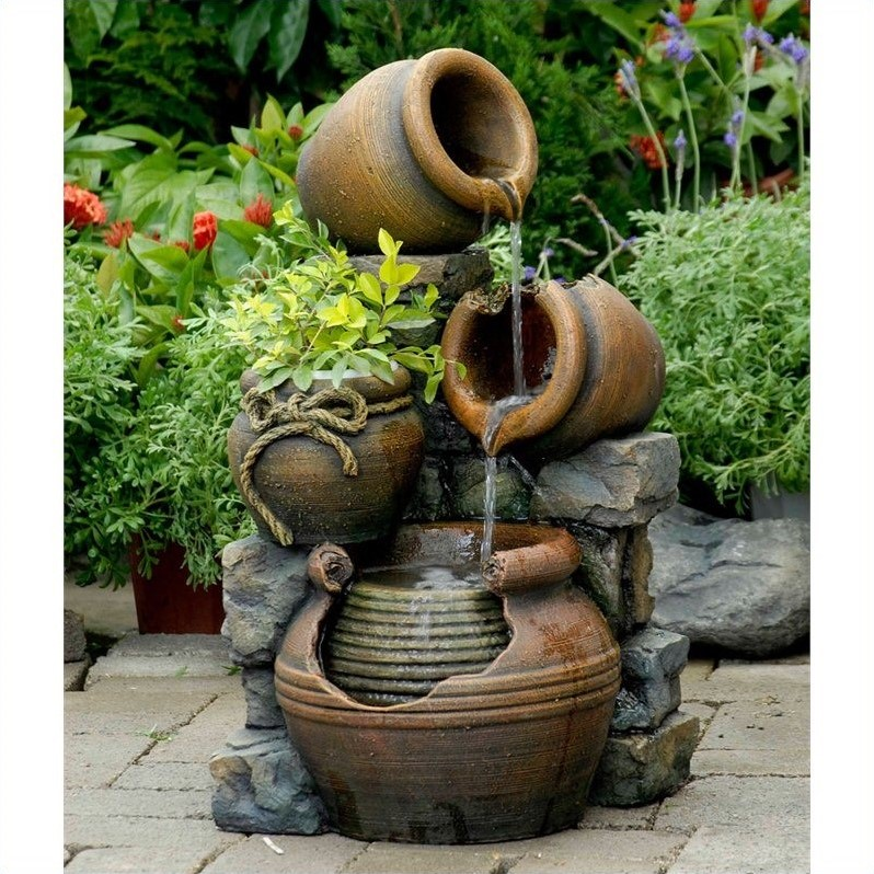 Jeco Multi Pots Outdoor Water Fountain With Flower Pot