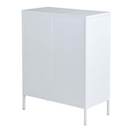 Furniture R Metal Storage Cabinet,Double Door,3-Tiers,Simple Elegant File locker Console Stand for Living Room Bedroom(White) - image 6 of 8