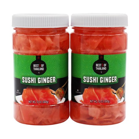 Pickled Sushi Ginger - 2 Jars of 12-oz - Japanese Pickled Gari Sushi Ginger Kosher - By Best of Thailand - Ginger Spice Halloween