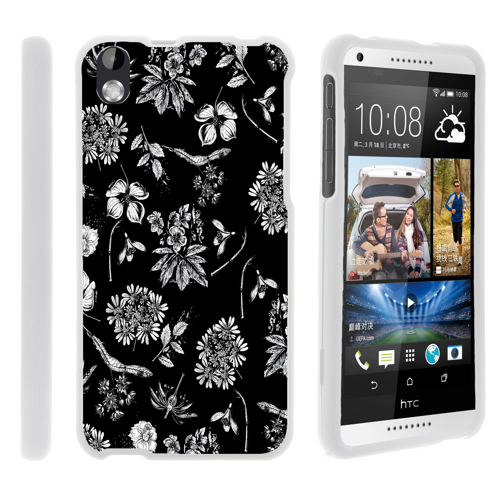 HTC Desire 816, [SNAP SHELL][White] 2 Piece Snap On Rubberized Hard White Plastic Cell Phone Case with Exclusive Art - Black White Flowers