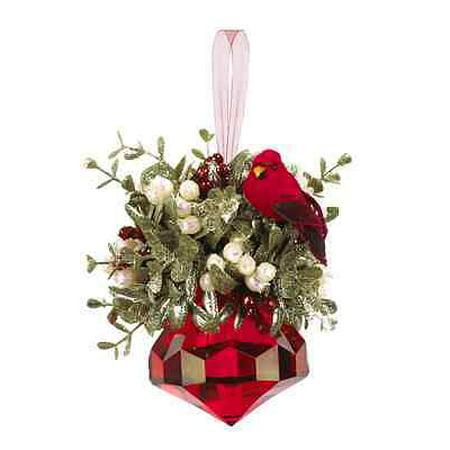 Kissing Krystals Large Cardinal Mistletoe Christmas Ornament, 7