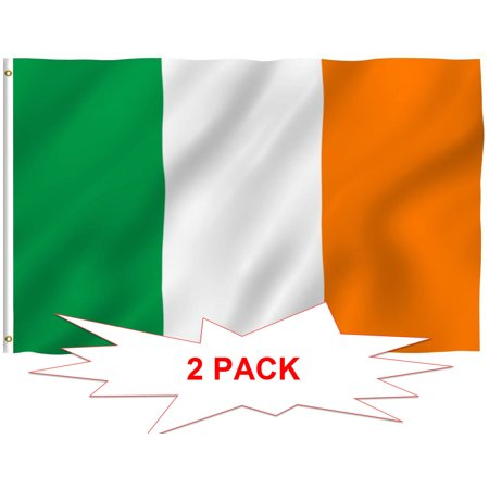 Flags Of Ireland (G128? TWO PACK FLAG OF IRELAND LARGE 3x5 FT IRISH EIRE INDOOR OUTDOOR,)