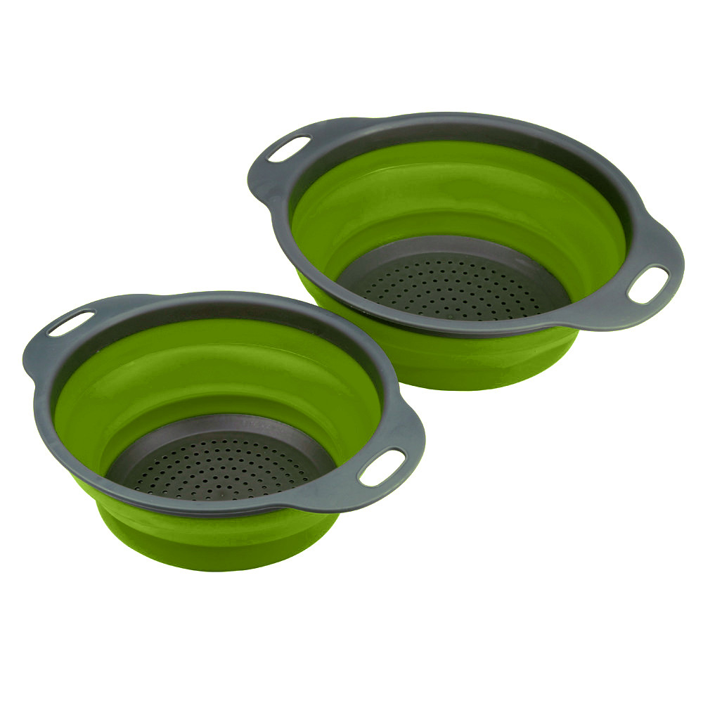 2pcs New Kitchen Collapsible Silicone Colander Fruit Vegetable Strainer ( 1 set) by