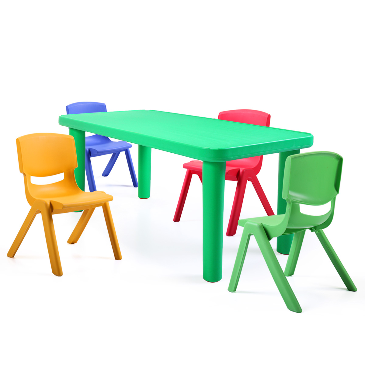 Rectangular Kids Plastic Play Table Portable Activity Table for Children Play Room Green