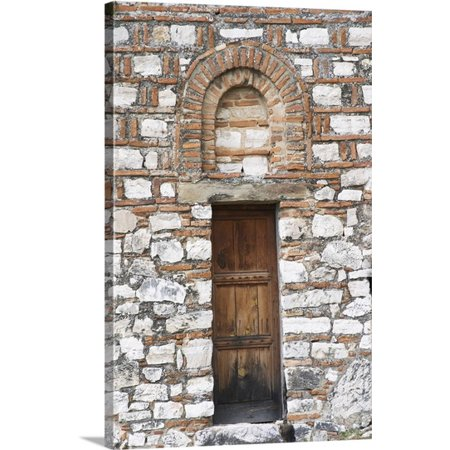 Great BIG Canvas Per Karlsson Premium Thick-Wrap Canvas entitled Hagia Triada Church, Detail of old wooden door and arched window, ()