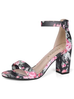 ccb417cf574b5e Product Image Unique Bargains Women s Open Toe Chunky Heel Printed Ankle  Strap Sandals Black (Size ...