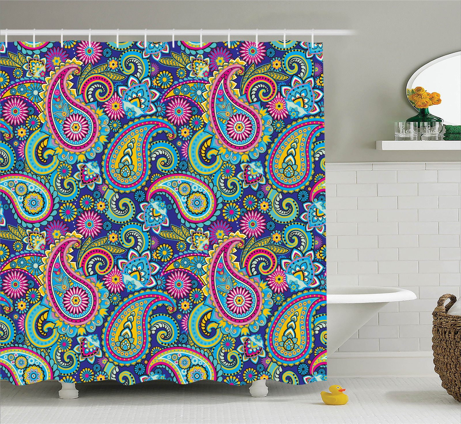 Superb Paisley Decor Shower Curtain Set, Ornate Traditional Paisley Elements With  Original Ethnic Details Bohemian Style