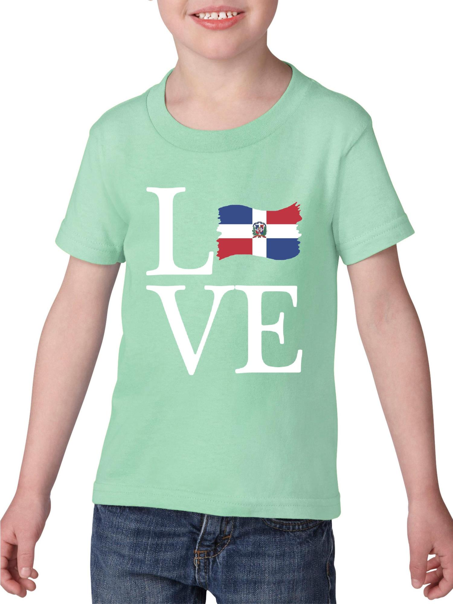 Love Dominican Republic Heavy Cotton Toddler Kids T-Shirt Tee Clothing