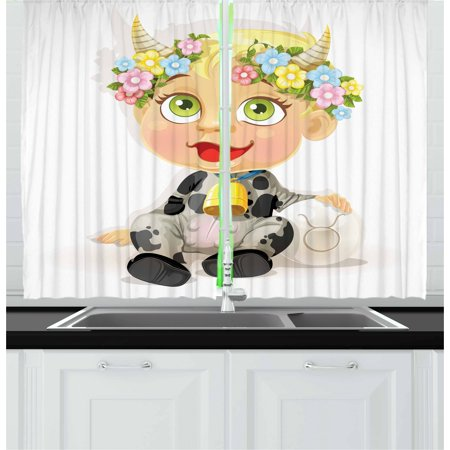 Zodiac Taurus Curtains 2 Panels Set, Happy Baby with Little Horns and Flowers Cow Bell and Costume Kids Cartoon, Window Drapes for Living Room Bedroom, 55W X 39L Inches, Multicolor, by Ambesonne (Cow Costume For Kids)
