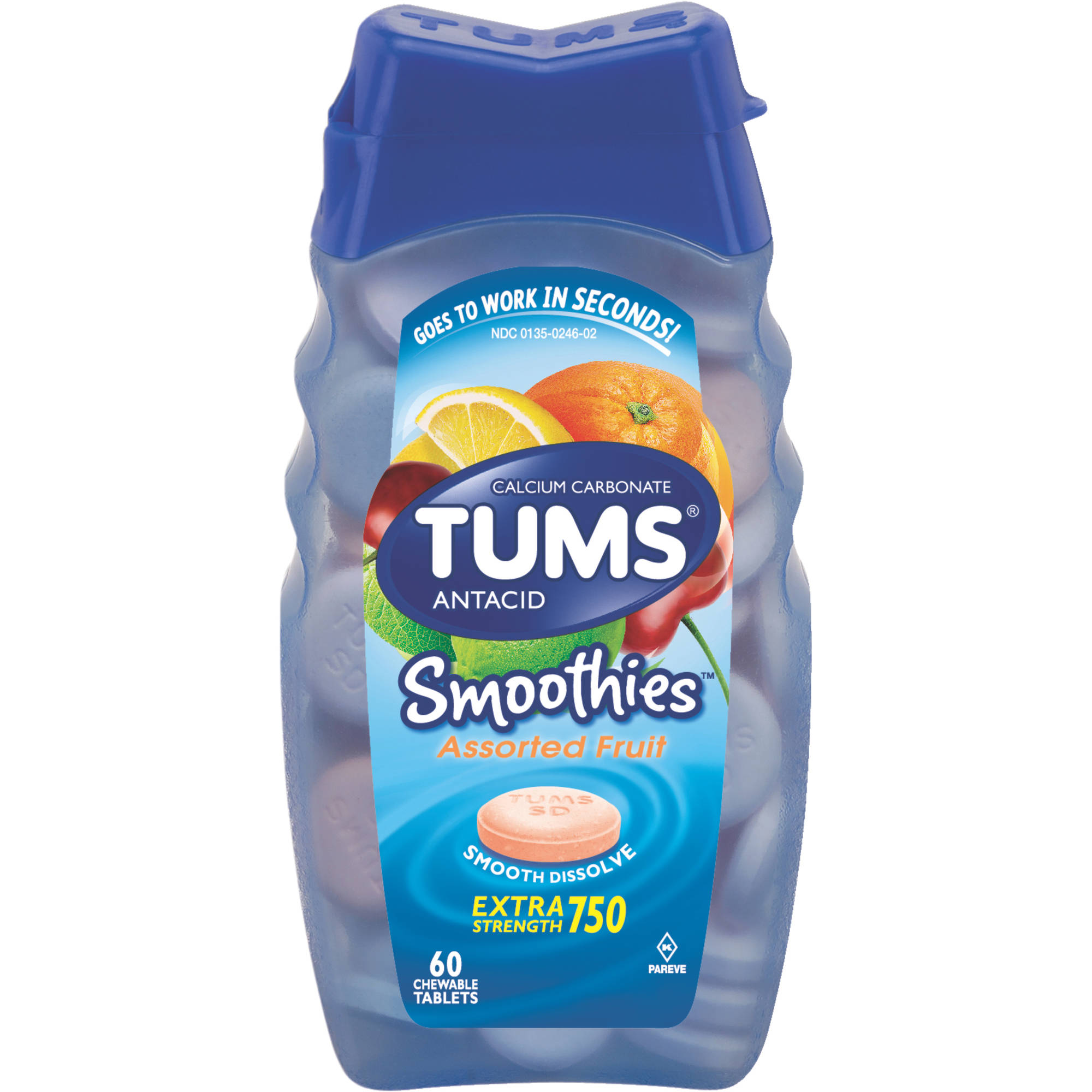 TUMS Smoothies Antacid Relief Calcium Smooth Dissolving Tablets, Assorted Fruit Flavor, 750 mg, 60 Tablets