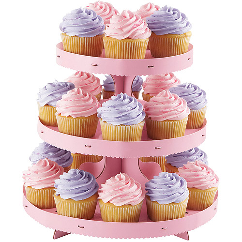 Wilton 3-Tier Corrugated Cupcake Stand, Pink 1512-0884