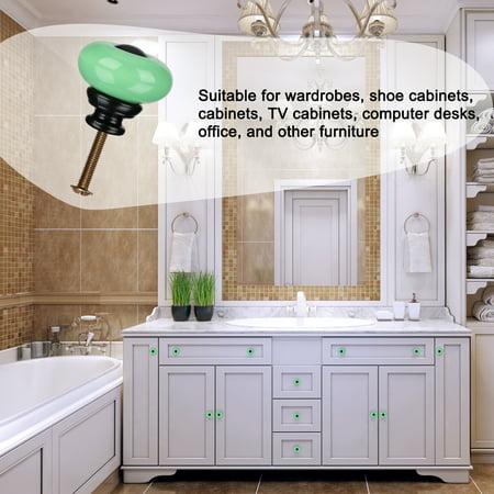 Ceramic Knob Pull Handle Furniture Dresser Wardrobe Cabinet Accessory 8pcs Green - image 2 de 7