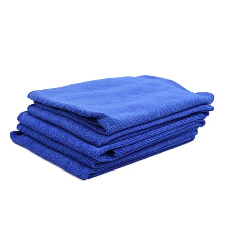 5 Pcs Water Absorbent Microfiber Fabric Car Clean Cloth Towel Protective for Auto Car Glass Blue