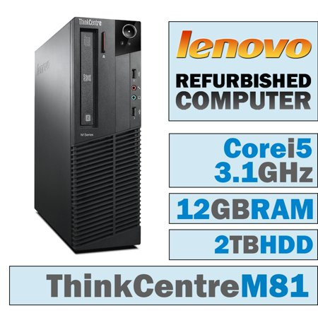 REFURBISHED Lenovo ThinkCentre M81 SFF/Core i5-2400 Quad @ 3.1 GHz/12GB DDR3/2TB HDD/DVD-RW/WINDOWS 10 HOME 64