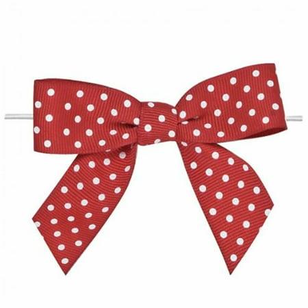Ribbon Bows (Weststone 50pcs Satin Red Dot Bows 3 1/2