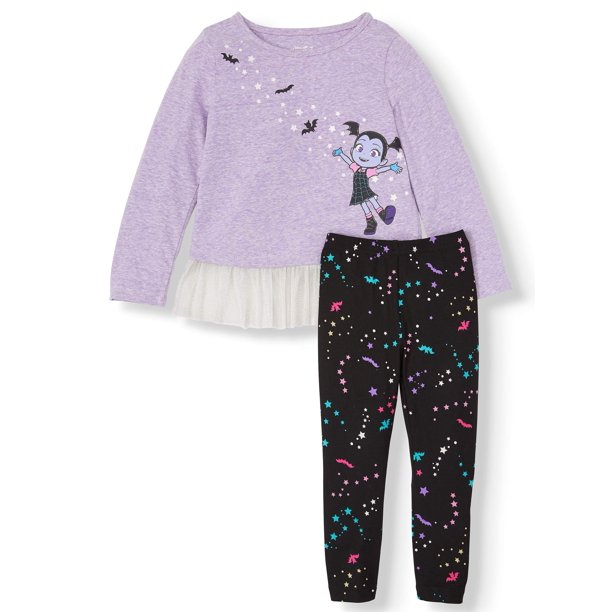 Vampirina Long Sleeve Flounce Tunic & Printed Leggings, 2pc Outfit Set (Toddler Girls)