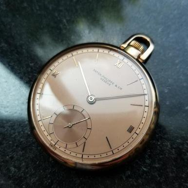 18k Pocket Watch (PATEK PHILIPPE Solid 18K Rose Gold 46mm Pocket Watch c.1940s Swiss Luxury LV366 )