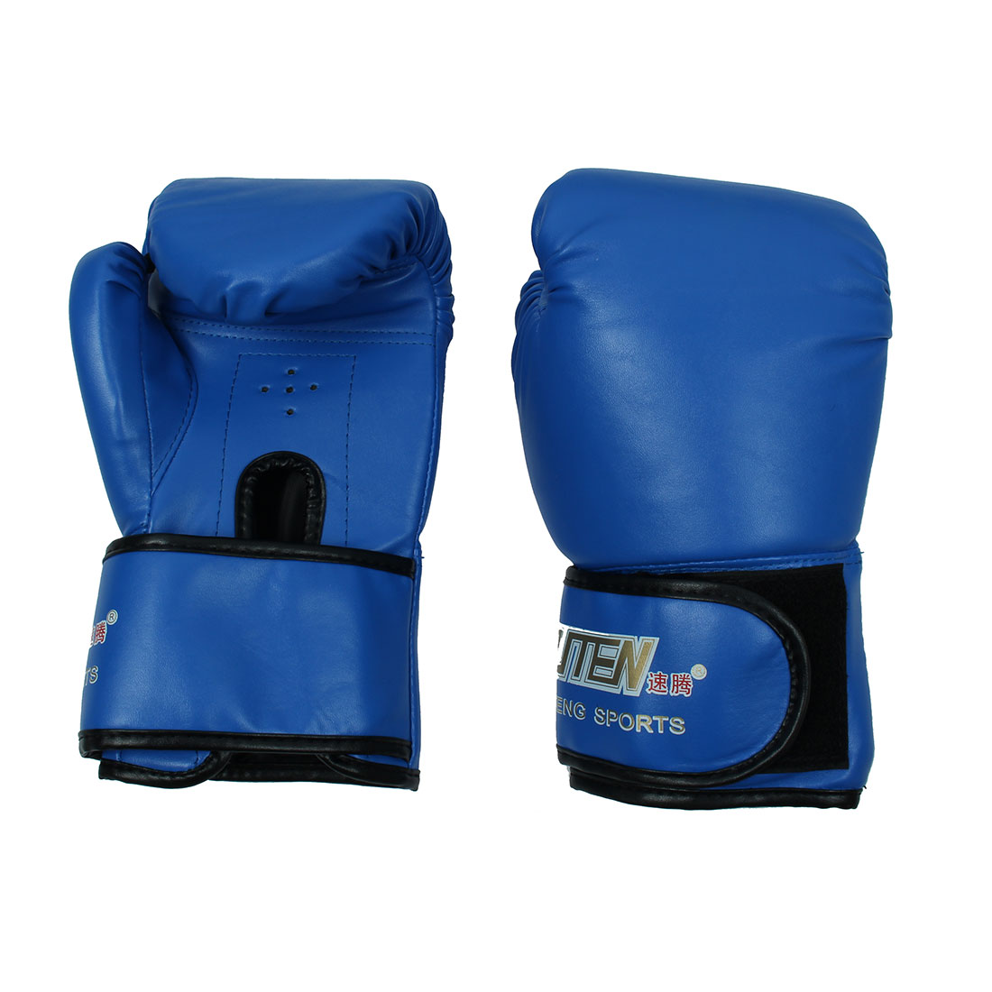 SUTENG Authorized Adult Unisex Sports PU Sparring Punching Bag Mitts Kickboxing Training Boxing Gloves Pair Blue by Unique-Bargains