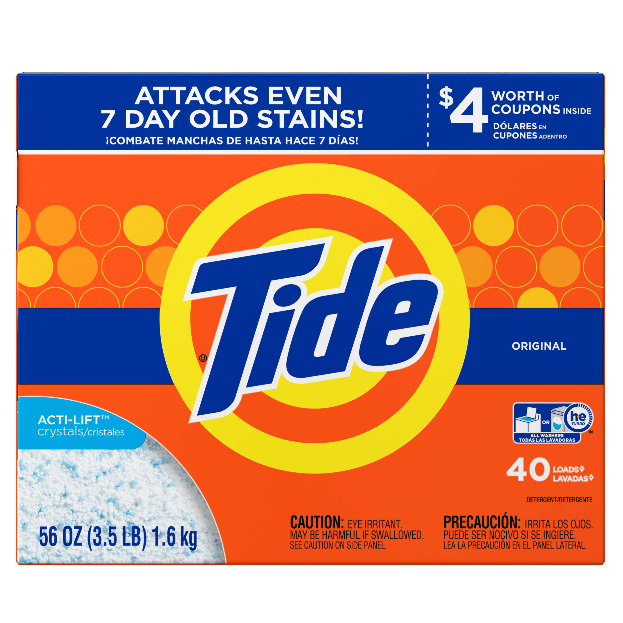 Tide HE Turbo Powder Laundry Detergent Original, 40 Loads, 56 oz