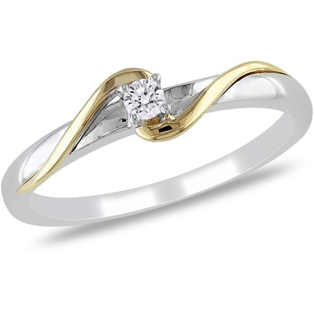 Diamond Accent 10kt Two-Tone Gold Solitaire Promise Ring](Toy Diamond Rings Bulk)