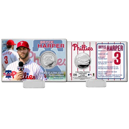 Bryce Harper Philadelphia Phillies Highland Mint 2019 Press Conference 4'' x 6'' Silver Coin Card - No - Bryce Four