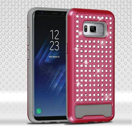 Samsung Galaxy S8 Case, by ASMYNA Diamante FullStar Hybrid Hard PC/Silicone Case Cover For Samsung Galaxy S8 - Hot Pink/Iron Gray