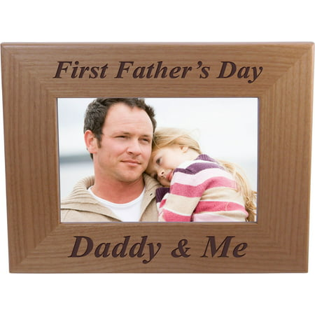 Fathers Day Frames (First Father's Day Daddy & Me - 4x6 Inch Wood Picture Frame - Great Gift for Father's Day Birthday or Christmas Gift for Dad Grandpa Papa)