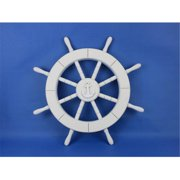 Handcrafted Model Ships New-White-SW-Anchor-18 White Ship Wheel With Anchor 18 in. Decorative Accent