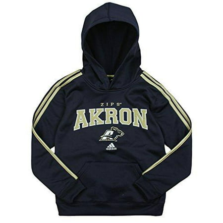 Adidas Youth Boy's Akron Zips NCAA 3 Stripe Pullover Hoodie, Navy
