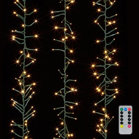 Raz Imports 05865 - 600 Light 19.5' Green Wire Warm White LED Micro Miniature Christmas Light String Set with Timer and Remote Micro Christmas Lights