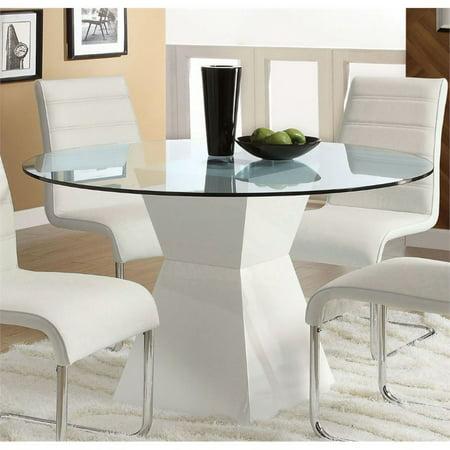 Furniture of America Dorazio Round Glass Top Dining Table in White ()
