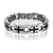 Religious Multi Black Side Cross Wristband Link Bracelet For Men Silver Tone Stainless Steel