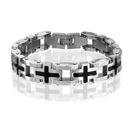 Religious Multi Black Side Cross Wristband Link Bracelet For Men Silver Tone Stainless - Link Stainless Bracelet Wristband