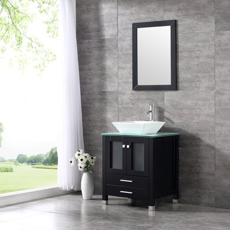 (Wood Bathroom Vanity Cabinet Tempered Glass Countertop Ceramic Sink w/ Mirror)