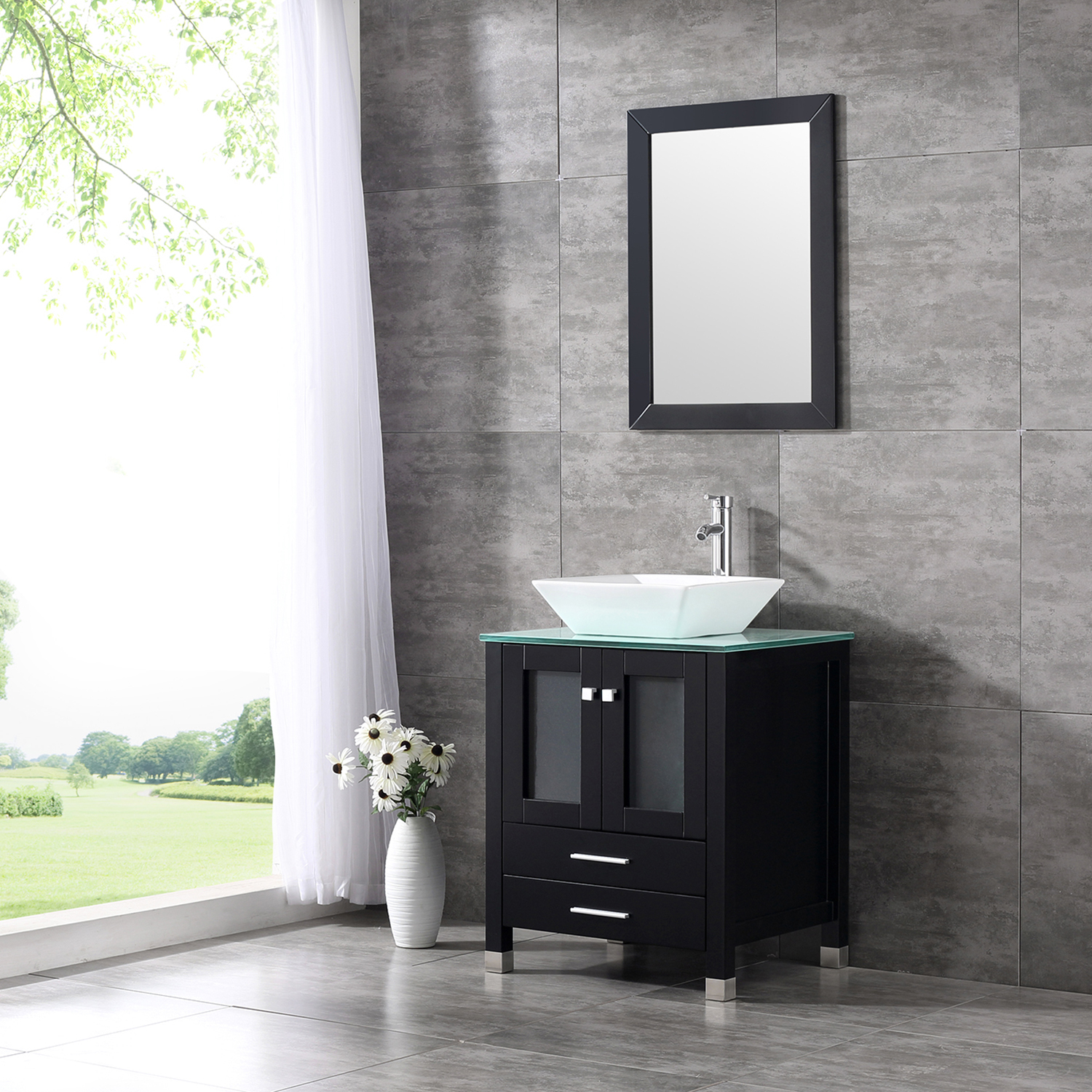 Wood Bathroom Vanity Cabinet Tempered Glass Countertop Ceramic Sink w/ Mirror & Wood Bathroom Vanity Cabinet Tempered Glass Countertop Ceramic Sink ...
