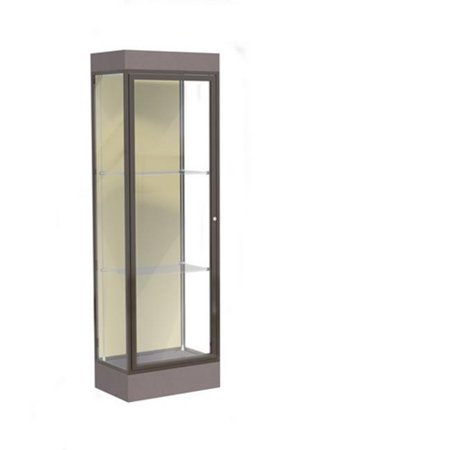 Waddell 91LFSK-BZ-MZ Edge 24 x 76 x 20 in. Morro Zephyr Base Lighted Floor Display Case with 2 ft. Hinged Door & 6 in. Base, Silk Back - Dark Bronze
