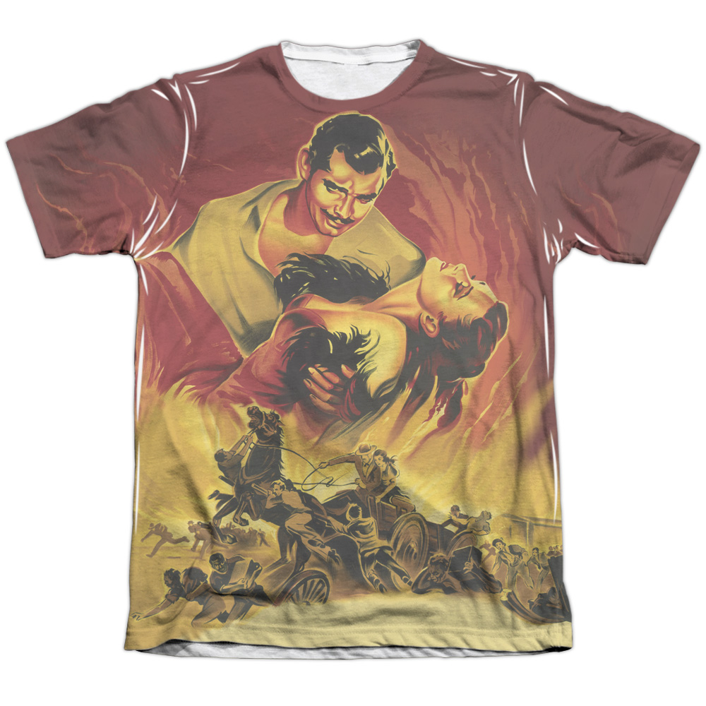 Gone With The Wind Fire Poster (Front Back Print) Mens Sublimation Shirt