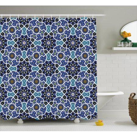 Moroccan Shower Curtain Eastern Persian Gypsy Jacquard Style Arabic Culture Folk Tracery Geometric Image