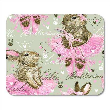 LADDKE Dance Cute Bunny Ballerina Watercolor Rabbit Mousepad Mouse Pad Mouse Mat 9x10 (Be A Ballerina Learn To Dance Mat)