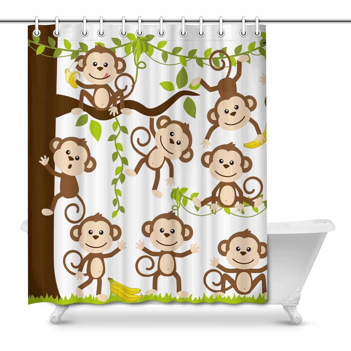 MKHERT Cute Cartoon Monkey Art Decor Waterproof Polyester