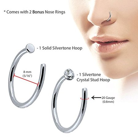 Bodyj4you 6pcs Nose Rings Studs Hoop 20g Stainless Steel Rose Goldtone Bone Pin Body Piercing Jewelry 0 8mm Walmart Canada