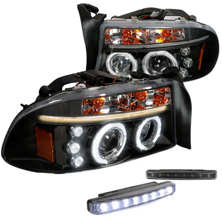Spec-D Tuning For 1997-2004 Dodge Dakota Durango Led Halo Projector Headlights Black + 8-Led Bumper Lamps (Left+Right) 1997 1998 1999 2000 2001 2002 2003 2004 04 Dodge Dakota Led